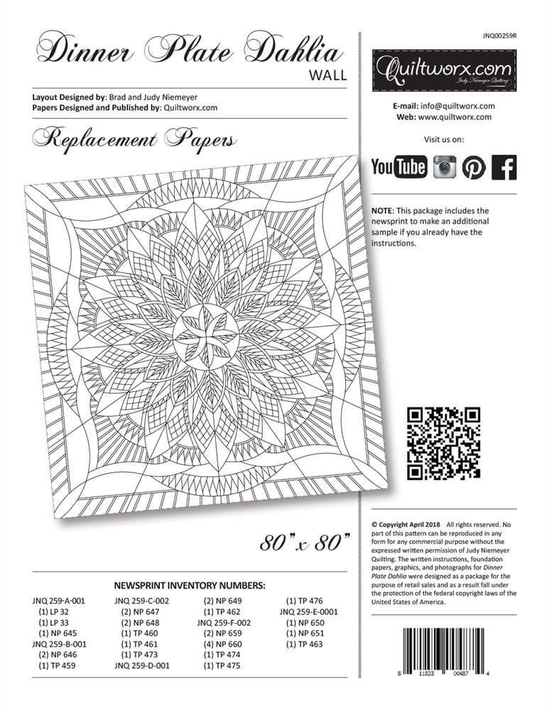 Dinner Plate Dahlia - Wall - Replacement Papers - JNQ00259R