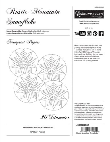 JNQ00262MAG Rustic Mountain Snowflake - A Quiltworx Pattern - Judy Neimeyer Quilting