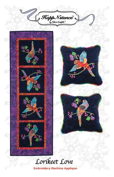Lorikeet Love Table Runner And Pillow Embroidery Machine Applique