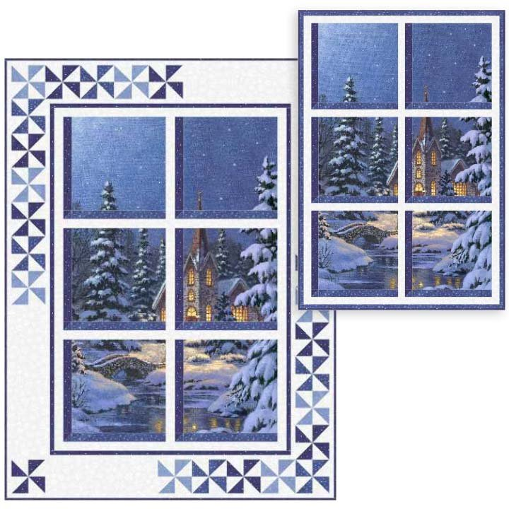 PTN2072 Winter Window Quilt and Wall Hanging - Silent Night by Ladeebug Design