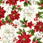 R7668-20G Natural/Gold Poinsettia - Poised Poinsettia Collection by Hoffman Fabrics