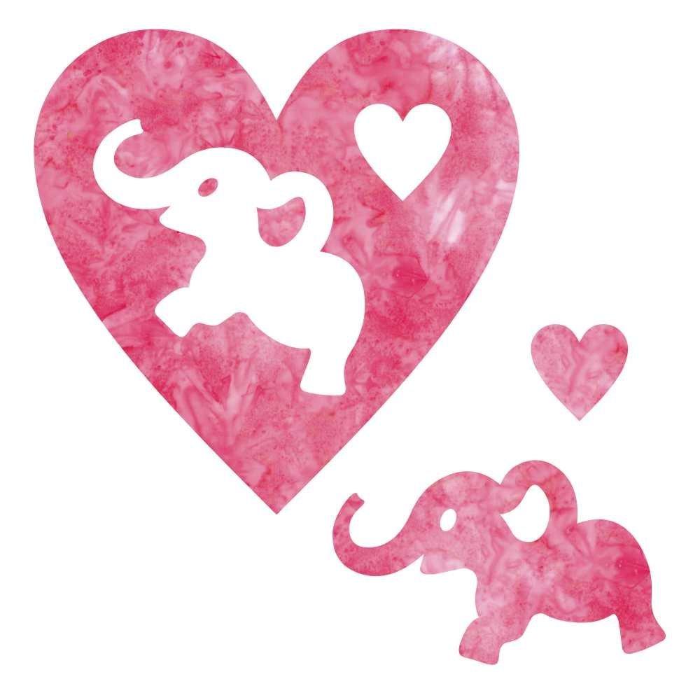 SHAN-LC024-03 Pink Elephant & Heart 6.25 x 6.25   LASER CUTS BY SHANIA SUNGA