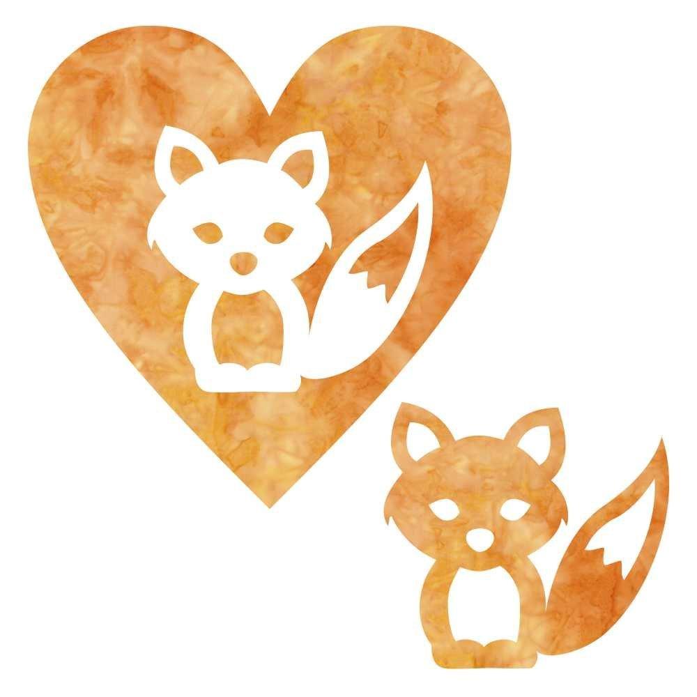 SHAN-LC025-03 Orange Fox & Heart 6.25 x 6.25   LASER CUTS BY SHANIA SUNGA