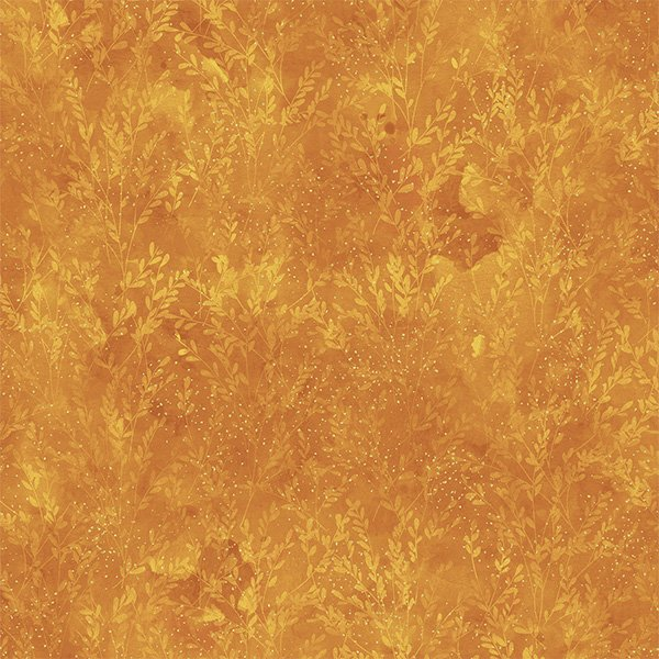 T4856-624G Ochre/Gold Leaf Tonal Metallic   Autumn Is In The Air   Hoffman Fabrics