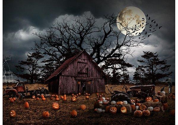 T4863-192 Pumpkin Panel 29-3/4   Haunted Halloween Collection   Hoffman Fabrics