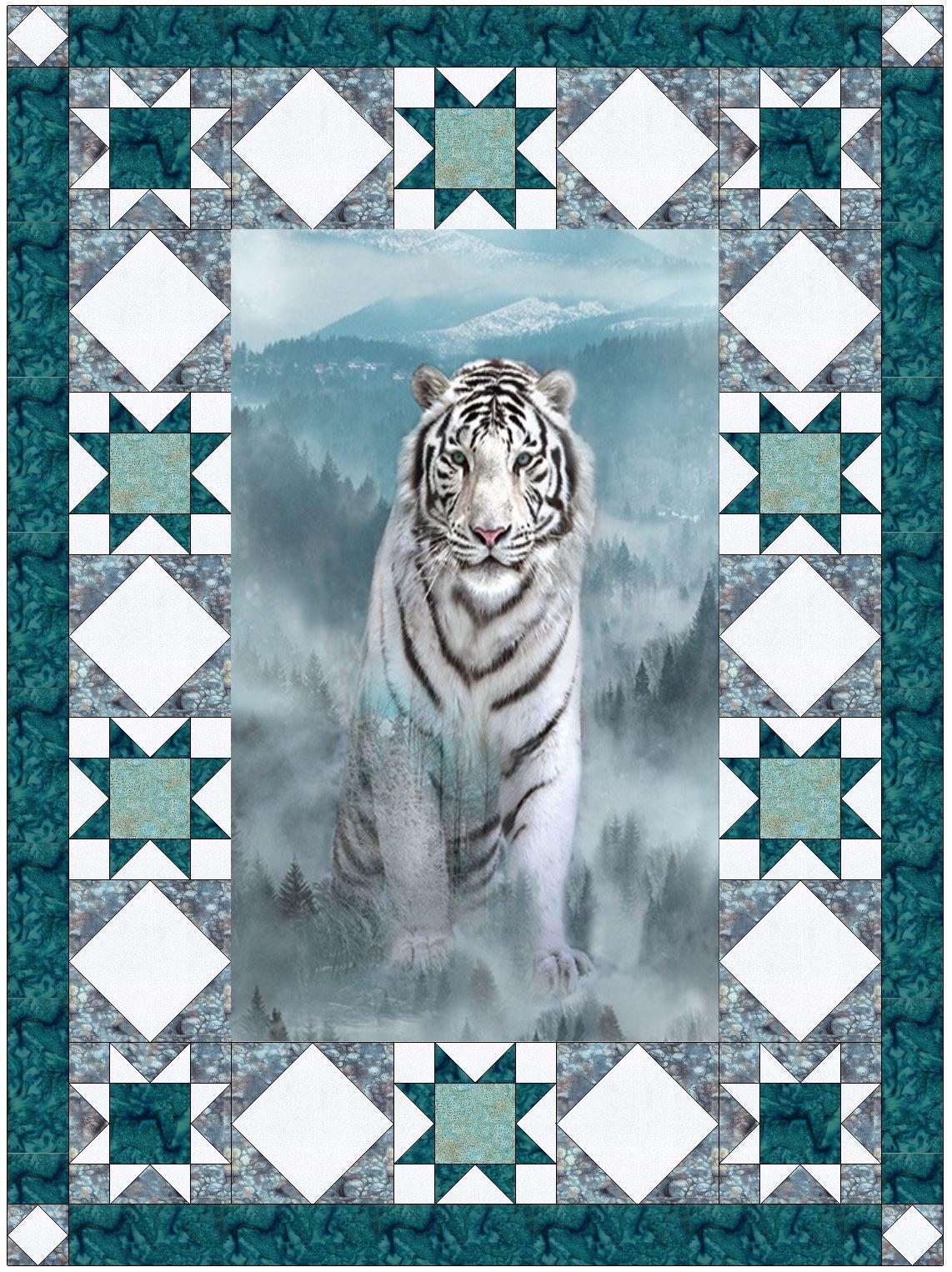 The White Tiger Fabric Kit w/Pattern