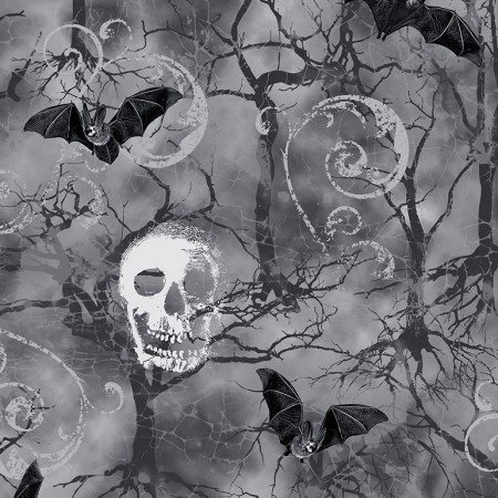 C7022 Fog - Skulls and Bats | Wicked Collection by Timeless Treasures