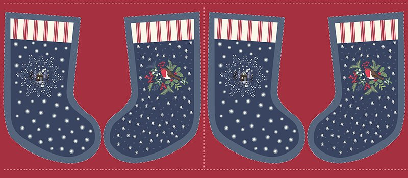 Christmas Panel - Stockings Blue