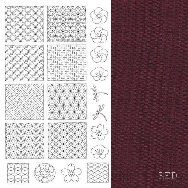 Sashiko Panel - Red