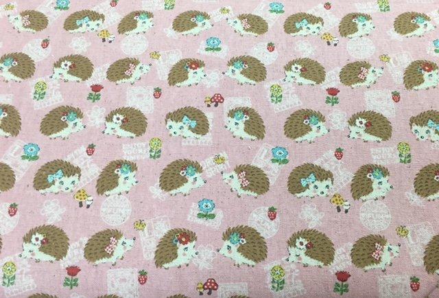 Hedgehogs on Pink - Kokka Fabric