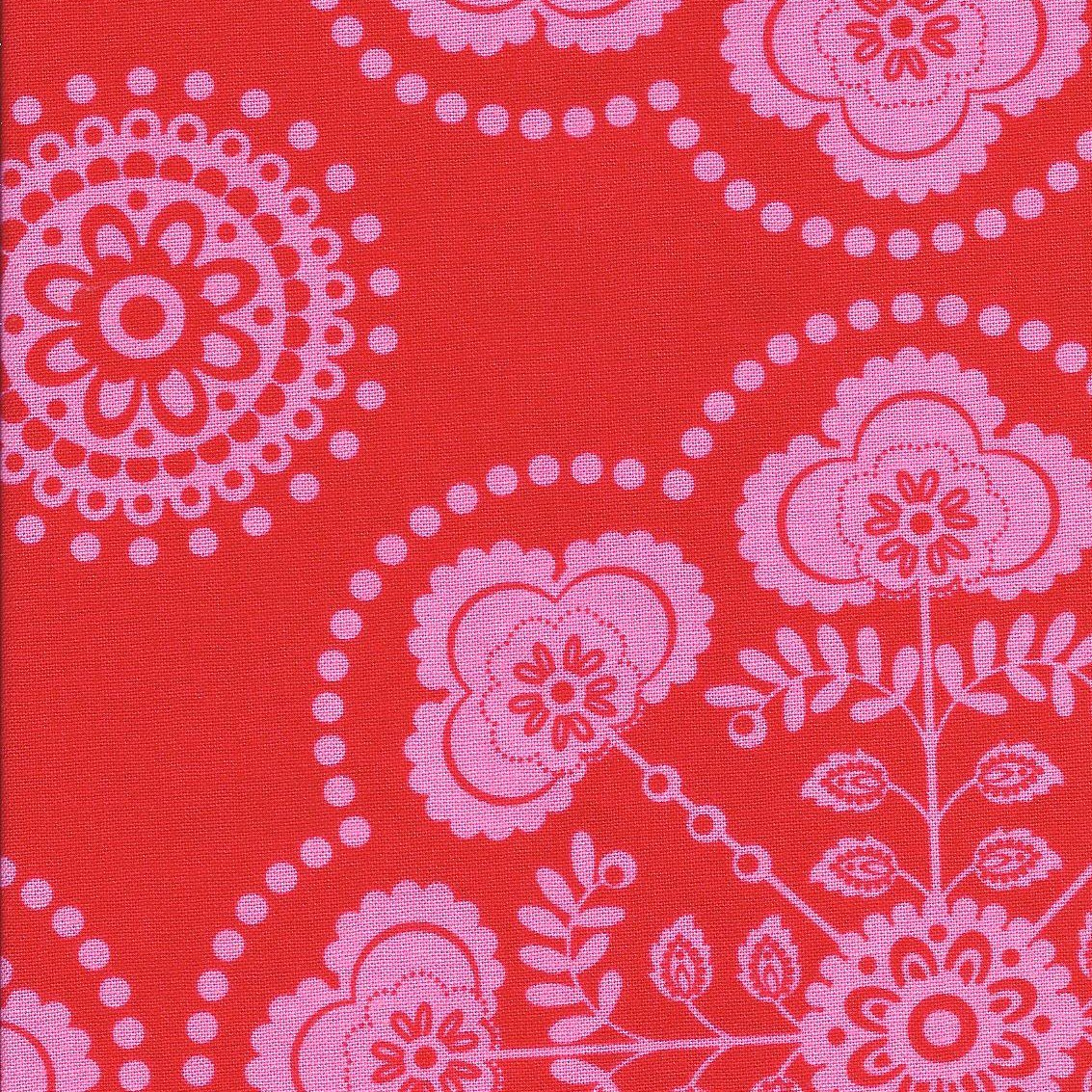 Michael Miller Red Circle De Fleurs