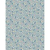 Chicken Scratch - Flowers & Dots - Blue -143