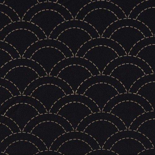 sashiko Single Stitche - Waves - Black