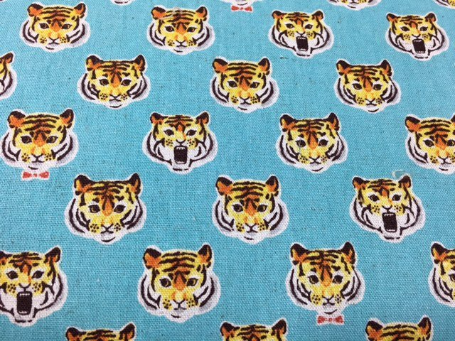 Cosmo Tigers - Cotton/linen blend -Aqua