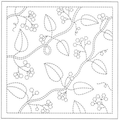 Hana Fukin Sashiko Sampler - Leaves & Nuts White no13