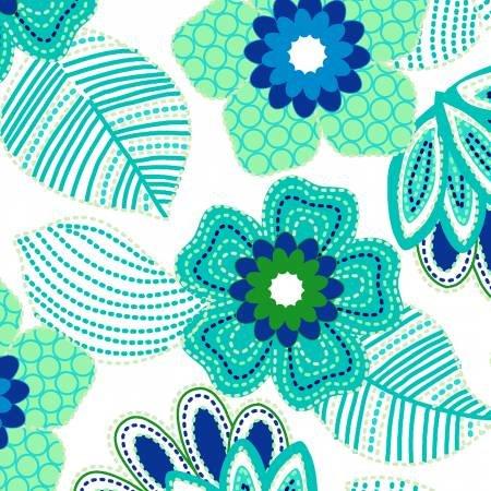 Nature Birds 11656-AQU Aqua Flower Words by 3 Wishes Fabric