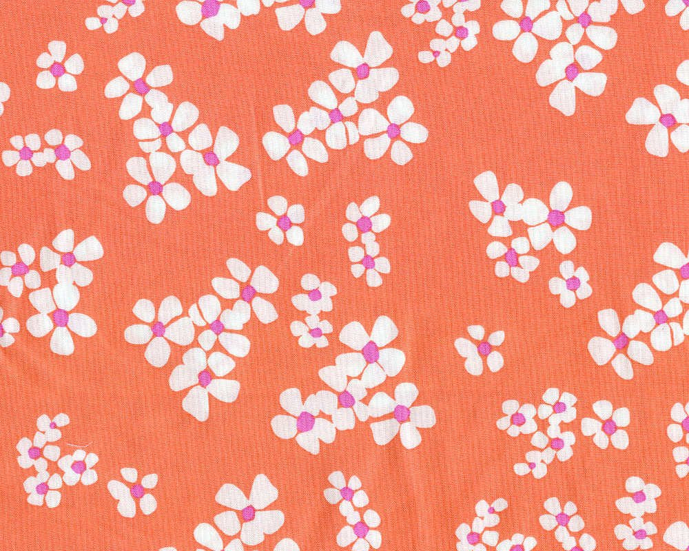 Daisy Chain - White on coral