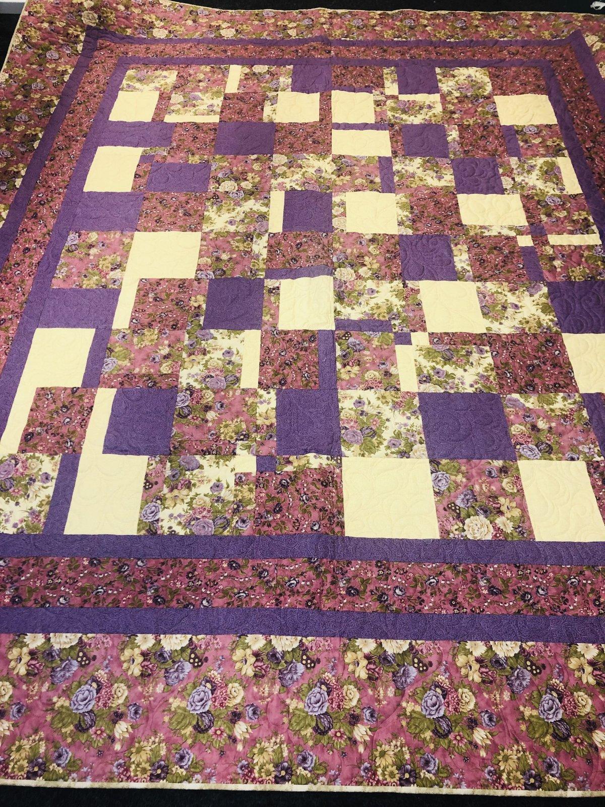 Lavender Field Flowers Quilt 96 X 100