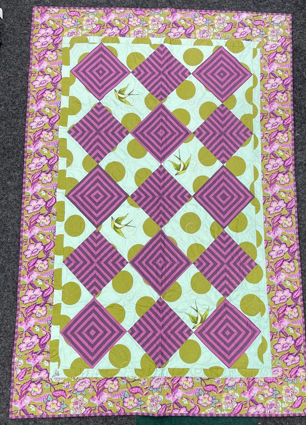 Tula Quilt Sleepy Squirrel with Free Fall Backing 50 X 74