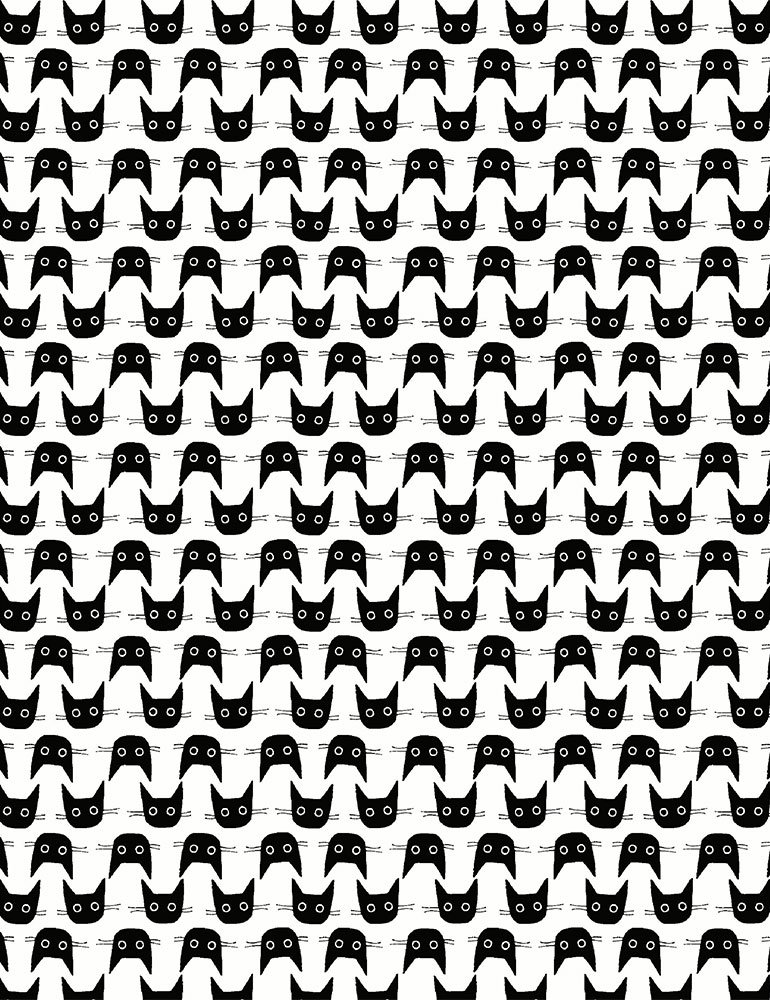 Les Chats Noirs Cat Heads White