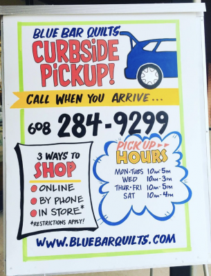 Curbside Pickup Sign - Blue Bar Quilts