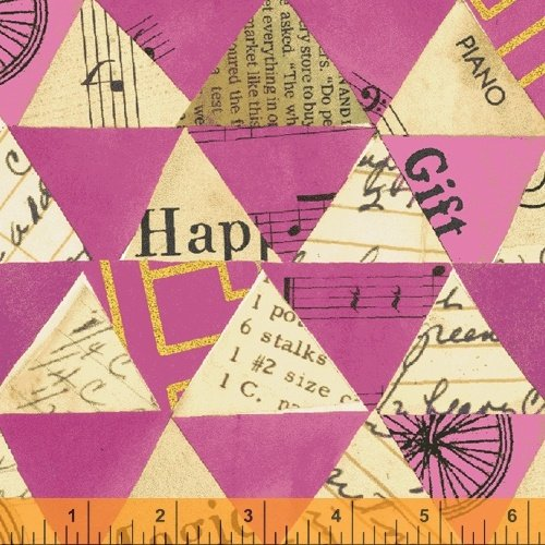 Wish Canvas Collaged Triangles Hot Pink