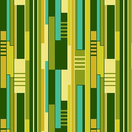 All Lined Up Irregular Blocks Stripe Green/Yellow