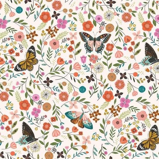 Aviary Butterfly Field White/Multi
