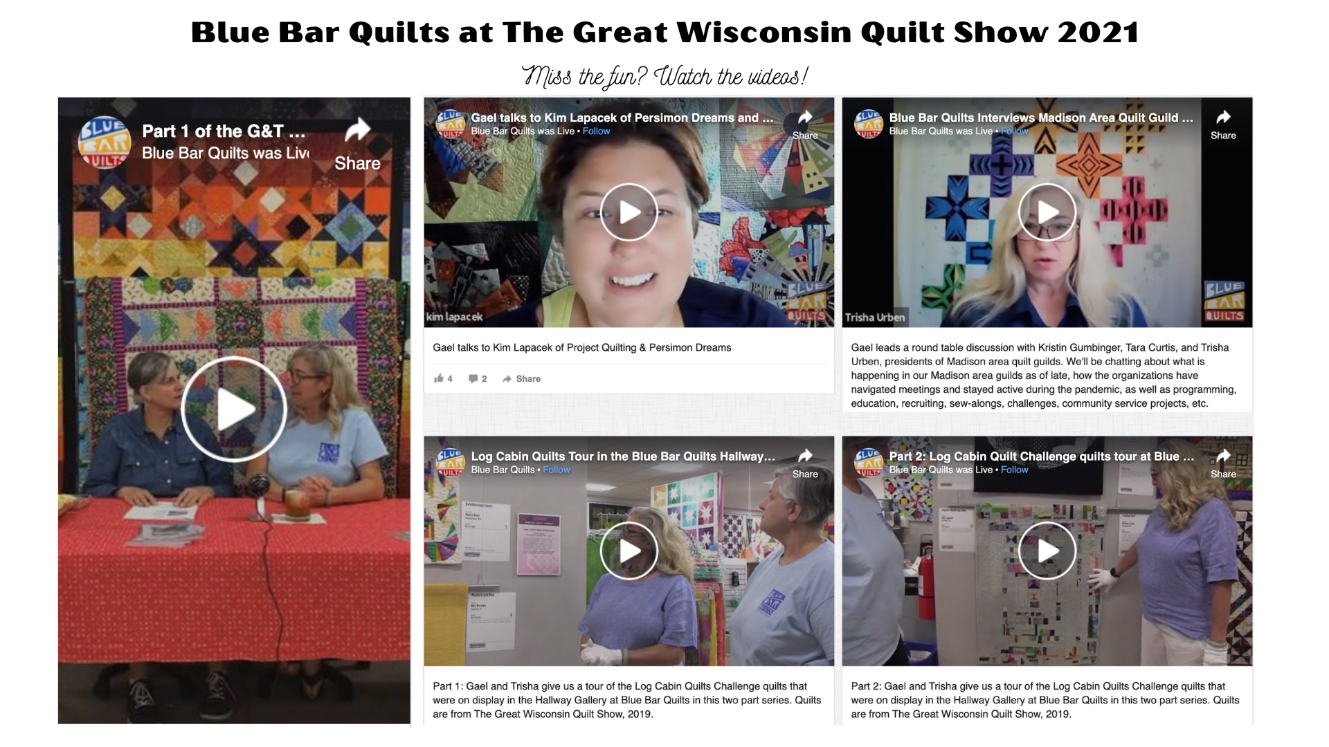 Watch Blue Bar Quilts during the Great Wisconsin Quilt Show Vendor Livestreams Sept 9-11, 2021!