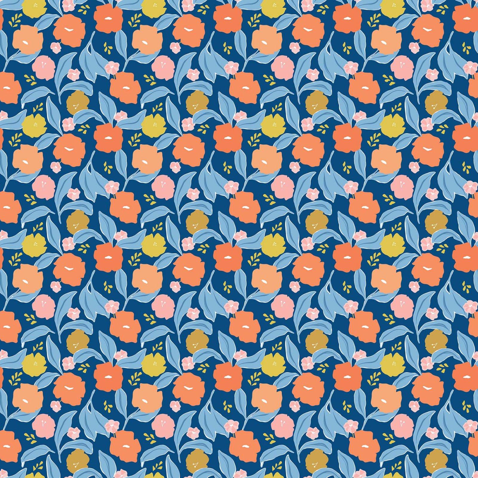 Rollakan Rayon Big Floral Blue/Multi