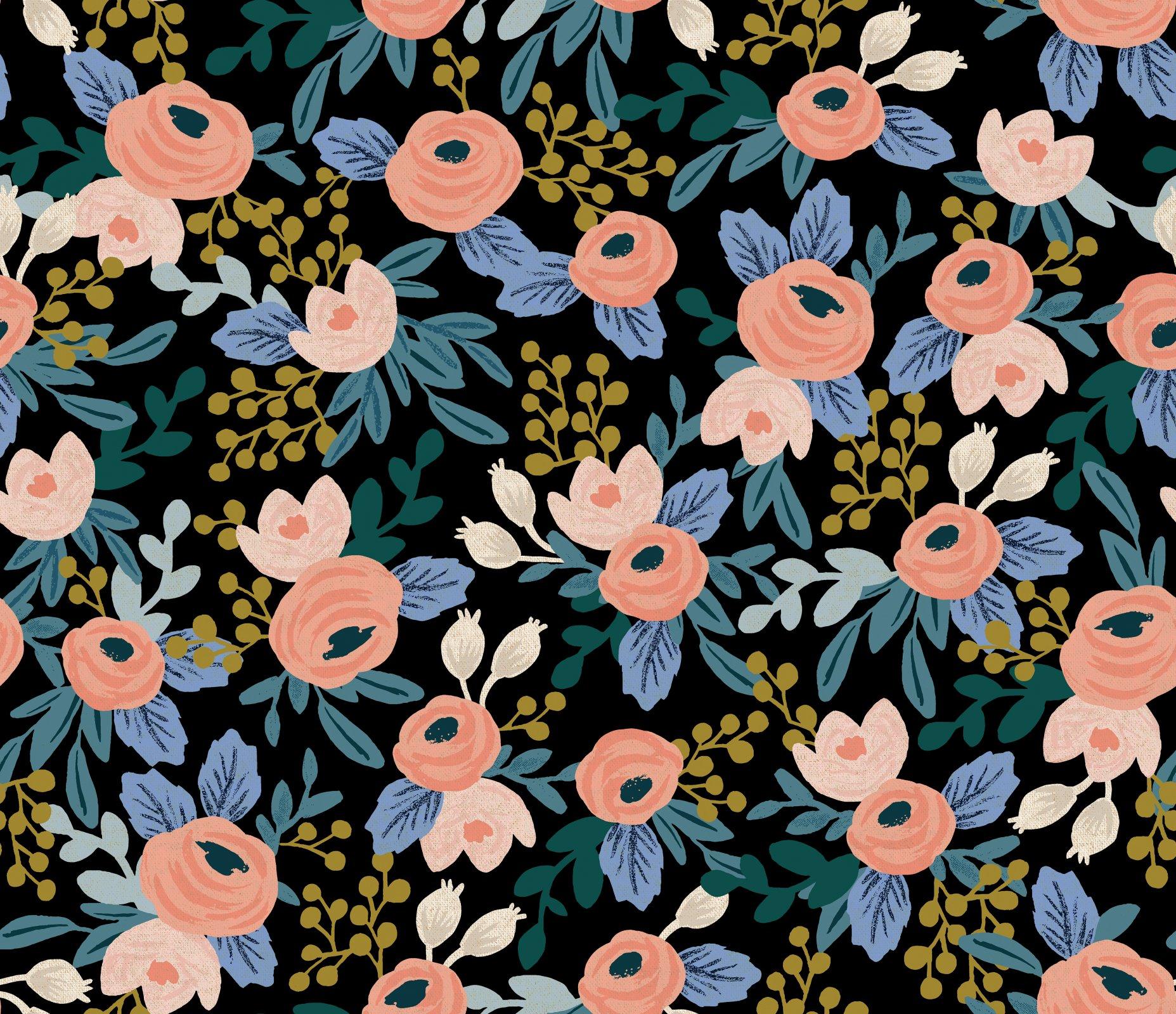 Garden Party Rosa Black Canvas