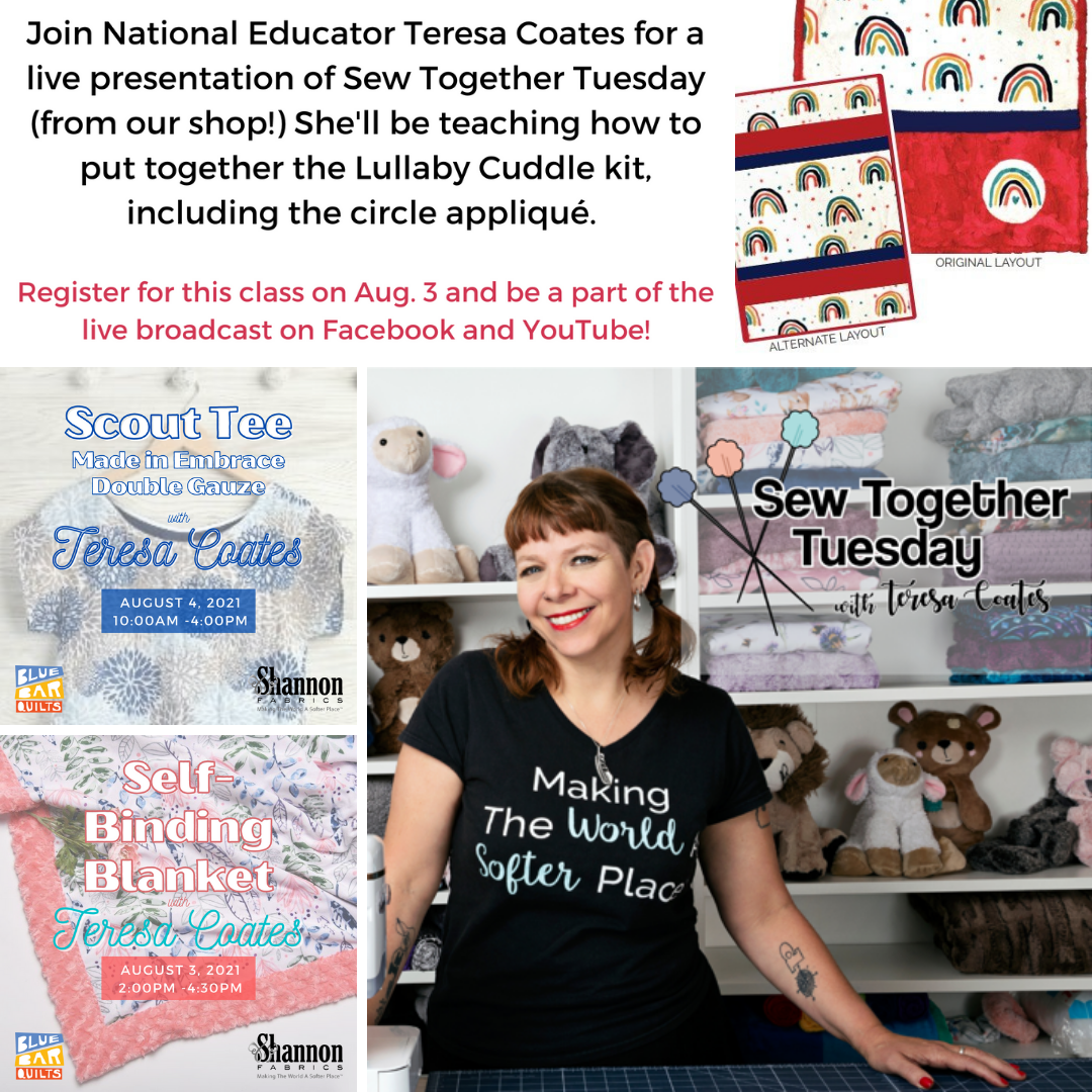 Blue Bar Quilts Hosts Teresa Coates of Shannon Fabrics for a live broadcast of Sew Together Tuesday!