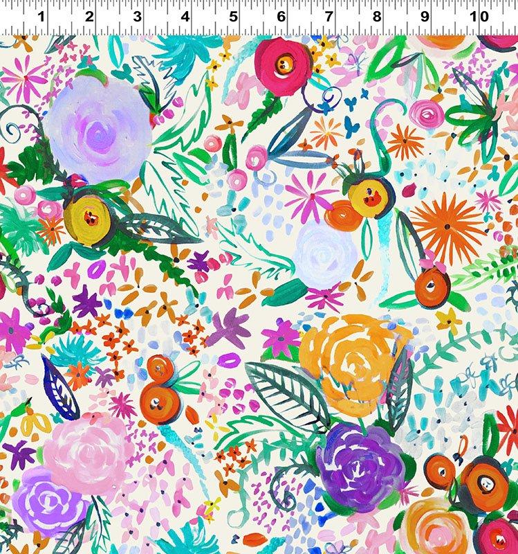 Painted Petals Digital Floral Cream