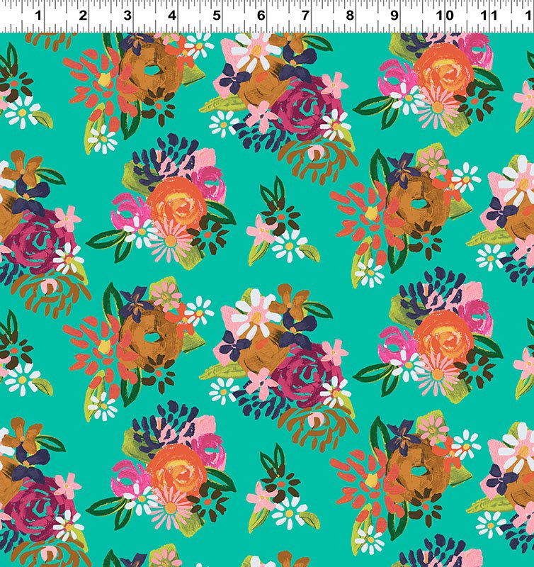 Painted Petals Acrylic Floral Turquoise