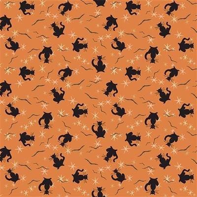 Retro Halloween Black Cats Orange