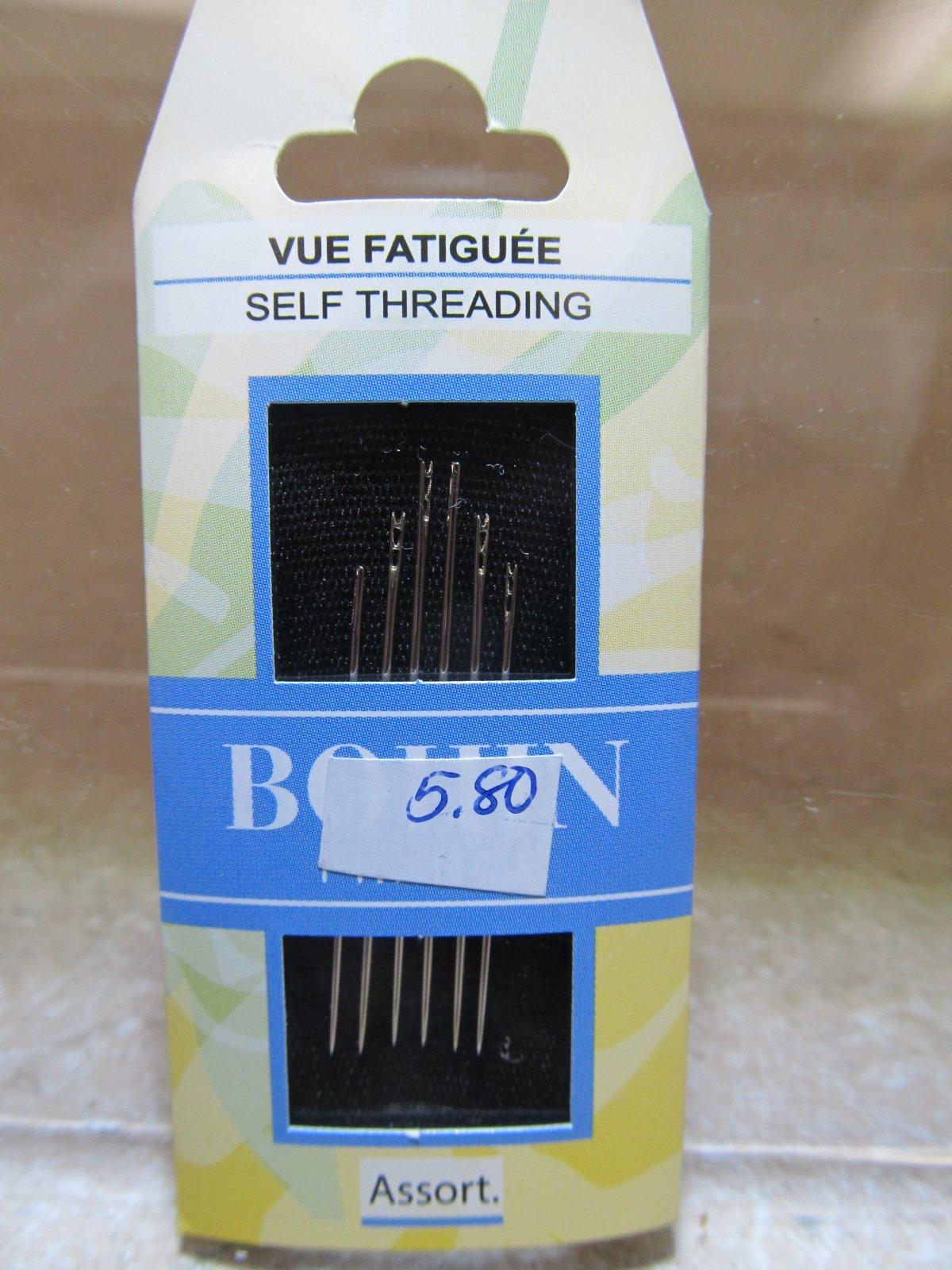 Bohin Self / Easy Threading Needles Assorted Size 3/8 6ct