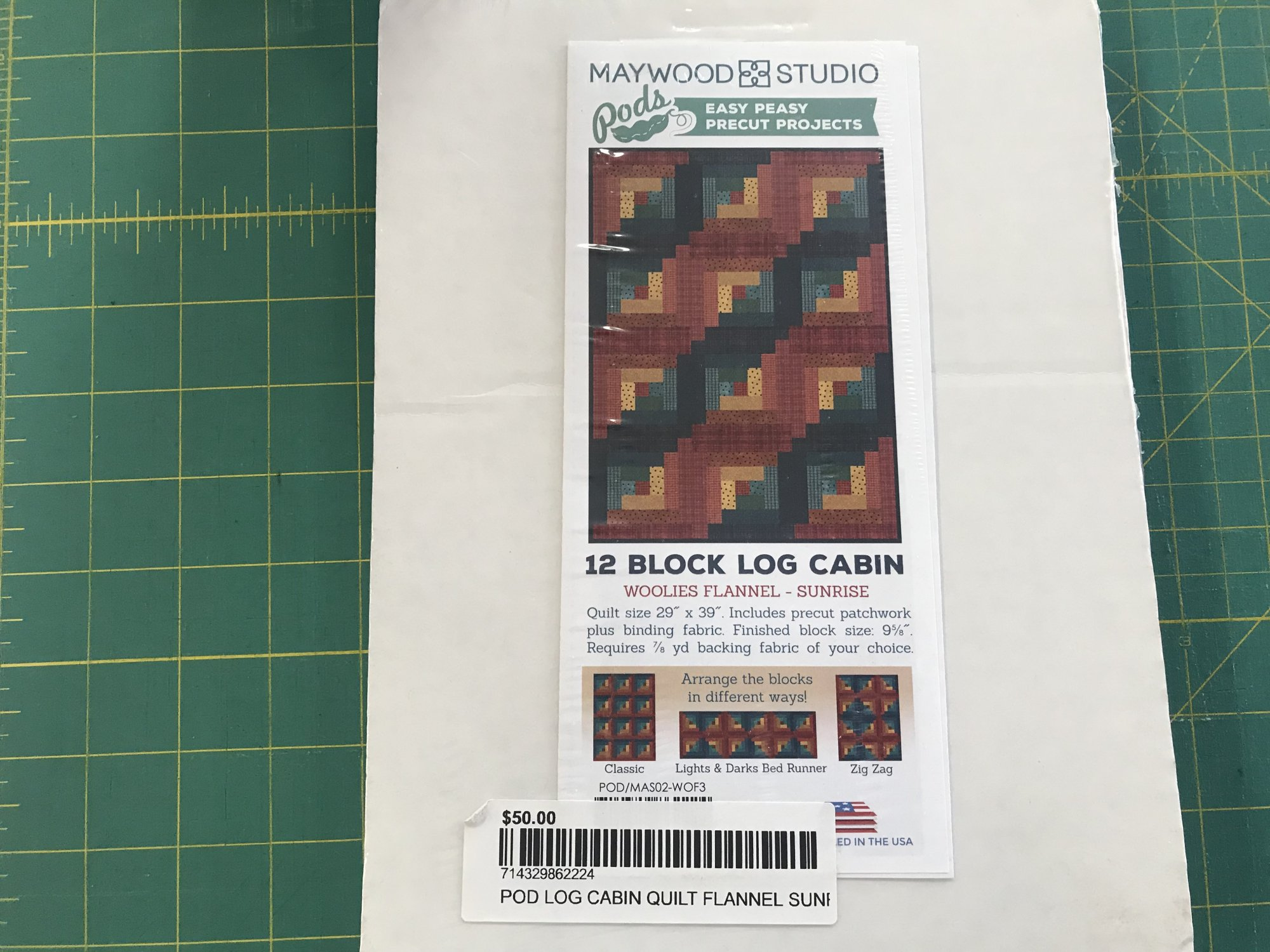 POD Log Cabin Quilt Flannel Sunrise