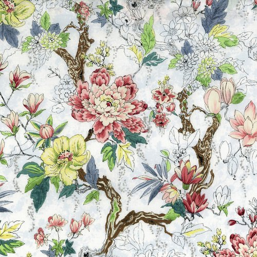 RJR SERENE SPRING-NEW BLOOMS-FROST FABRIC