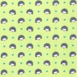 MI MILLER MINKY FANTASY WOODS GREEN W/HEDGEHOGS