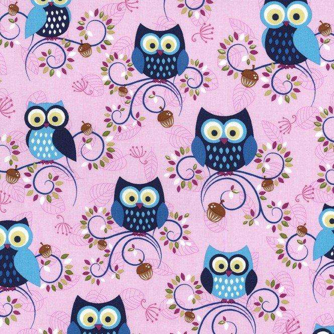 MI MILLER MINKY FANTASY WOODS PEONY OWLS