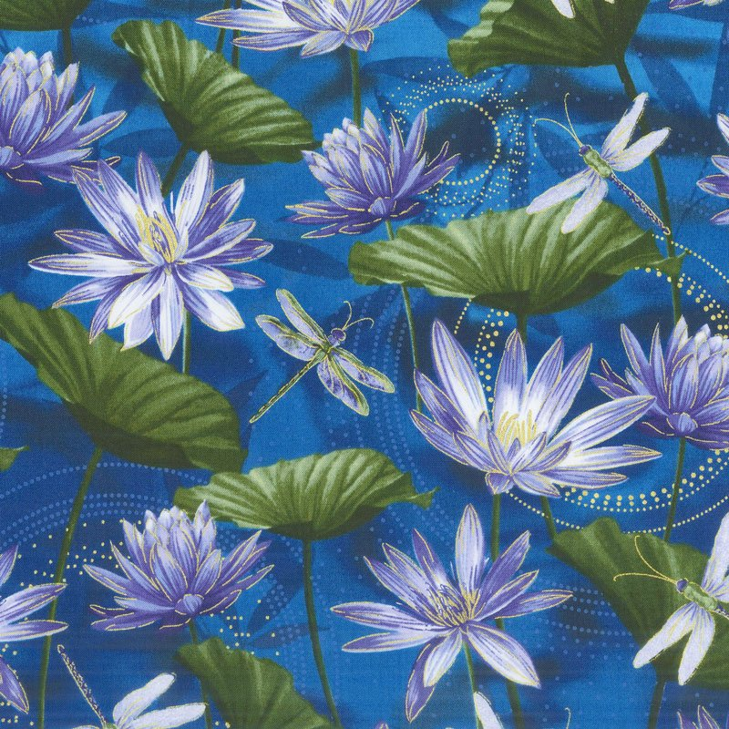 Dancing Dragonflies Waterlily Pool Cobalt Blue