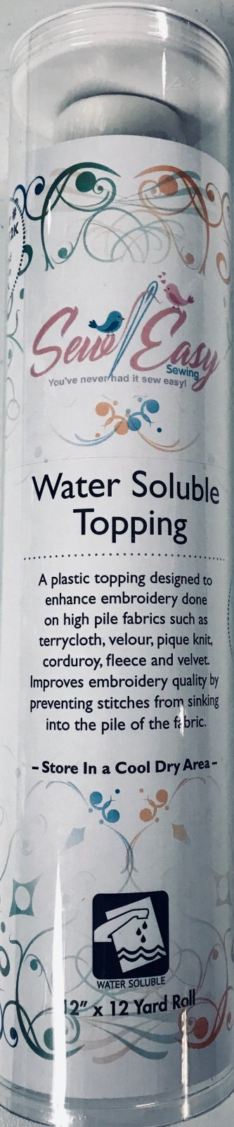 Water Soluble Topping 12 Inch x 12 Yards