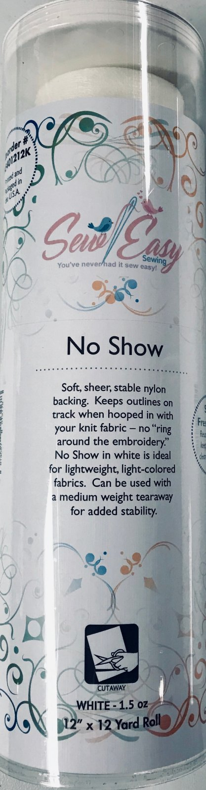 No Show Embroidery Stabilizer 12 Inch x 12 Yards