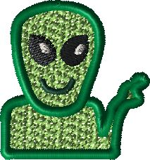 Pick A Pepper Alien Downloadable Embroidery File
