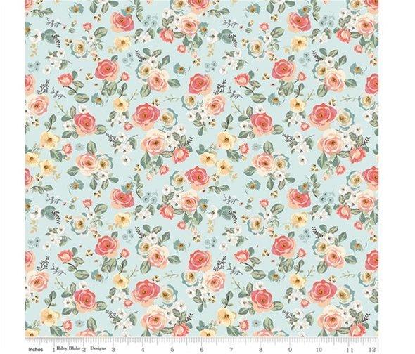 Gingham Gardens - Floral Aqua