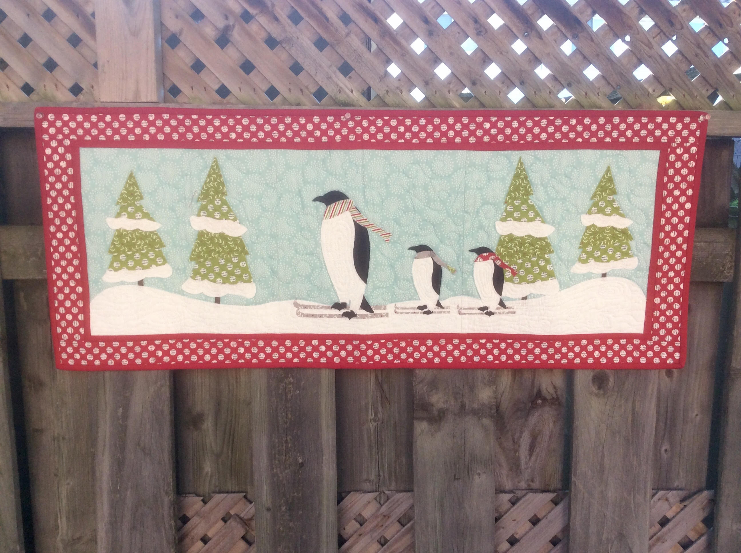Penguins on Ice Christmas Wallhanging