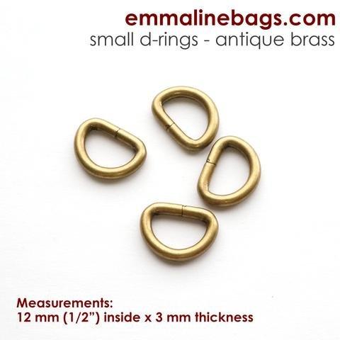 D Rings 1/2 Antique Brass