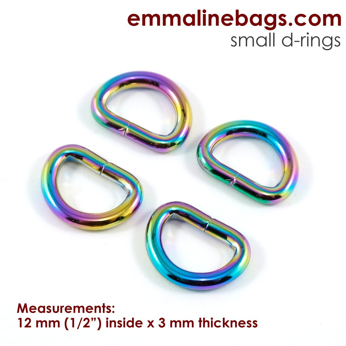 D Rings 1/2 Iridescent Rainbow