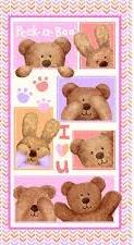 Peek-A-Boo Flannel - (2/3 yd panel) Bear Pink/Purple 3131P-25