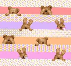 Peek-A-Boo Flannel - Bear Stripes Purple Pink Green Orange 3132-25
